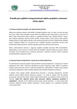 Pravidla pro zajištění transparentnosti výběru projektů a zamezení
