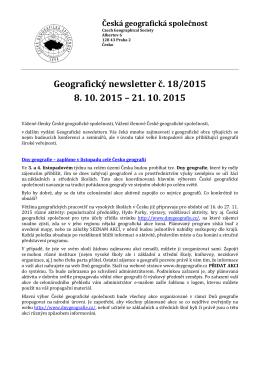 Geografický newsletter č. 18/2015 8. 10. 2015 – 21. 10. 2015