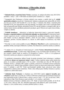 Informace z Obecního úřadu 31.8.2015