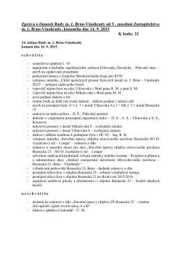 Vinohrady od V. zasedání Zastupitelstva m. č. Brno