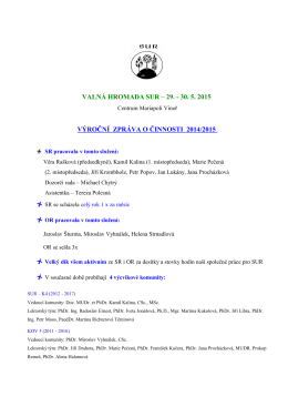 VALNÁ HROMADA SUR – 29. - 30. 5. 2015 VÝROČNÍ ZPRÁVA O