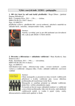 Výběr z nových knih 12/2011 – pedagogika
