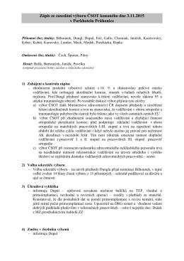 Zápis ze zasedání výboru ČSOT konaného dne 3.11.2015 v