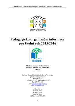 Pedagogicko-organizační informace pro školní rok 2015/2016