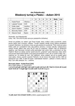 Bleskový turnaj u Pásků – duben 2015 XIIIIIIIIY 9 + - +0 9 -+-+- 0 9