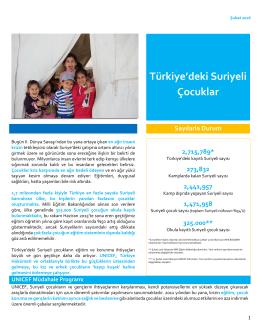 Türkiye`deki Suriyeli Çocuklar
