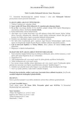 TC İSLAMABAD BÜYÜKELÇİLİĞİ Türk Uyruklu Sözleşmeli Sekreter