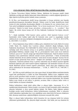 CEZA HUKUKU ÖZEL HÜKÜMLER-II PRATİK ÇALIŞMA (16.03.2016)
