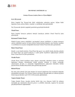 Page 1 UBS MENKUL DEĞERLER A.Ş. Sermaye Piyasası Araçları