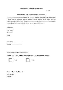 Section Değişikliği Başvuru Formu