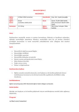 Mentorlük Eğitimi-2 IMUSEM203-2 Eğitim Tarihi 19 Mart 2016