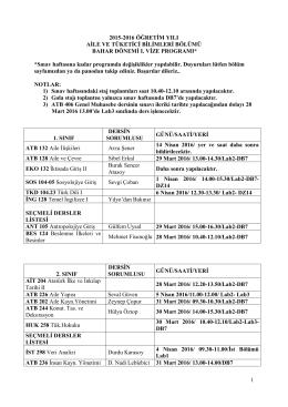 Bahar Dönemi 1.vize Programı - Hacettepe Üniversitesi Aile ve