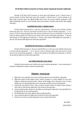 ÖNEMLİ HUSUSLAR - aksaray il millî eğitim müdürlüğü