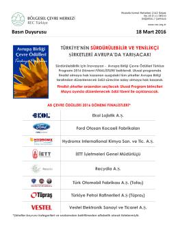 AB Çevre Ödülü Türkiye Finalisti Şirketler Belli Oldu!