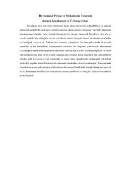 Davranışsal Piyasa ve Mekanizma Tasarımı Serkan Küçükşenel ve