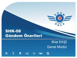 SHK-8 Gündem Önerileri - Sivil Havacılık Genel Müdürlüğü