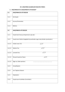 ek-1 araştırma çalışmaları başvuru formu a. araştırmacıya ve