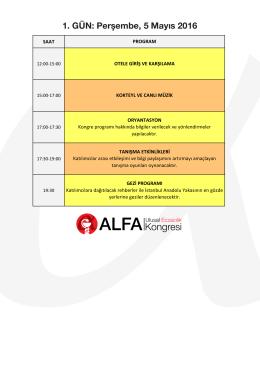 Kongre Programı - ALFA Ulusal Eczacılık Kongresi