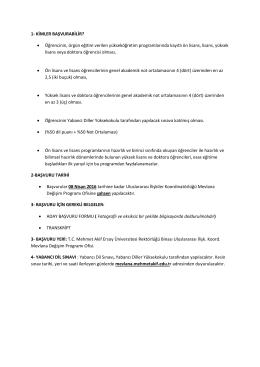 Başvuru için Gerekli Belgeler ve Kriterler