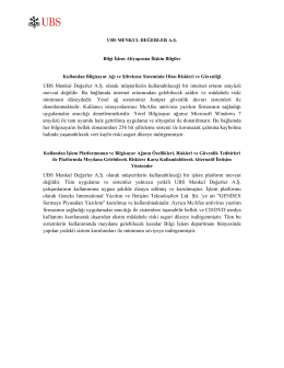 Page 1 UBS MENKUL DEĞERLER A.Ş. Bilgi İşlem Altyapısına