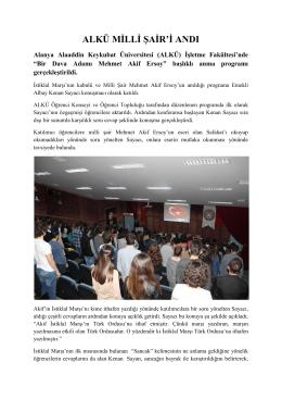 alkü milli şair`i andı - Alanya Alaaddin Keykubat Üniversitesi