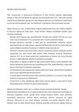 DEĞERLİ MESLEKTAŞIM, Türk Anesteziyoloji ve