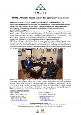 sedaş 17 mart`ta kocaeli üniversitesi öğrencileriyle buluşuyor 2016