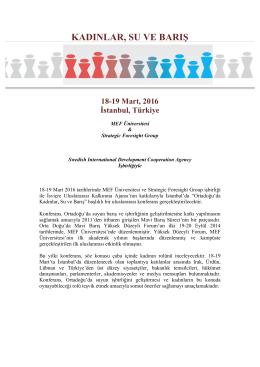 KADINLAR, SU VE BARIŞ 18-19 Mart, 2016
