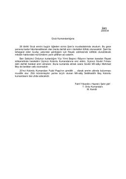 Şam 29/9/34 Grub Kumandanlığına 28 târihli Grub emrini bugün