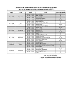 2015-2016 Bahar YY. Jeoloji Müh. Böl. Ara Sınav Programı