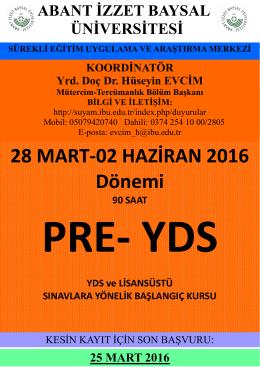 28 MART-02 HAZİRAN 2016 Dönemi - Abant İzzet Baysal Üniversitesi