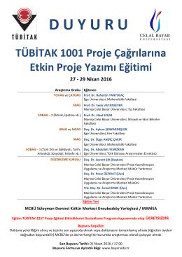 Genel TÜBİTAK 1001 Proje Çağrılarına Etkin Proje Yazımı Eğitimi