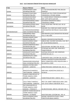 Başvuru Merkezleri Listesi
