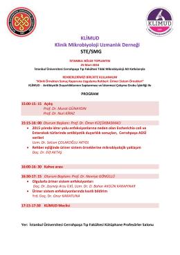 KLİMUD Klinik Mikrobiyoloji Uzmanlık Derneği STE/SMG