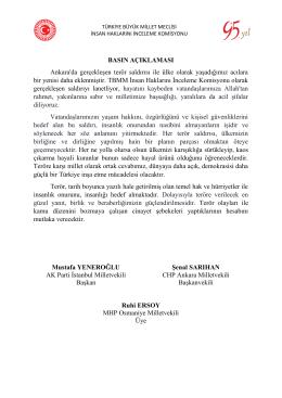 Ankara`daki Terör Saldırısına İlişkin Basın Açıklaması