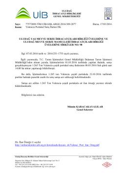 Valencia Portakal Satış İhalesi Hk.
