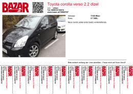 Toyota corolla verso 2.2 dizel