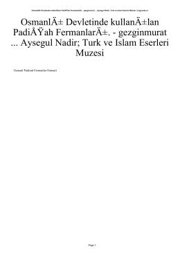 Osmanlı Devletinde kullanılan PadiÅ ah FermanlarÄ