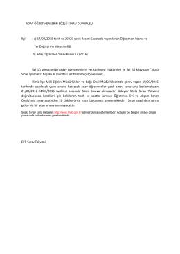 Aday Öğretmen Sözlü Sınav Takvimi ve Duyuru Yazısı. 15.03.2016