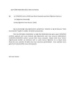 ADAY ÖĞRETMENLERİN SÖZLÜ SINAV DUYURUSU İlgi : a) 17/04