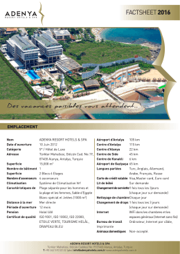 factsheet 2016 - Adenya Hotel