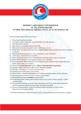 Futbol Oyun Kuralları - Mehmet Akif Ersoy Üniversitesi
