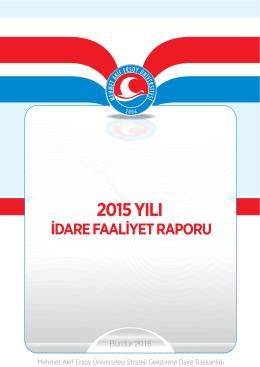 2015 Yılı İdare Faaliyet Raporu - Mehmet Akif Ersoy Üniversitesi