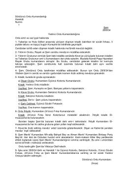 Dördüncü Ordu Kumandanlığı Harekât Numro 1 Şam 28/9/34