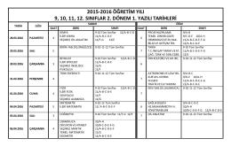 2015-2016 öğretim yılı 9, 10, 11, 12. sınıflar 2