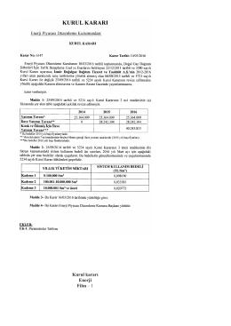Enerji Piyasası Düzenleme Kurulunun 10/03/2016