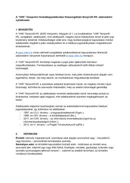 Adatvédelmi nyilatkozat - Hírek | Veszprém Hulladékgazdálkodási