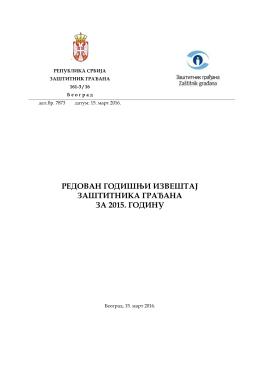 редован годишњи извештај заштитника грађана за 2015. годину