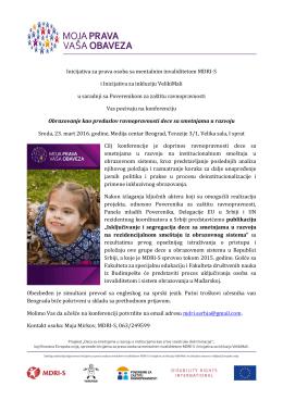 Poziv i program rada konferencije - MDRI-S
