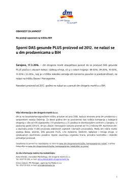 Sporni DAS gesunde PLUS proizvod od 2012. ne nalazi se u dm